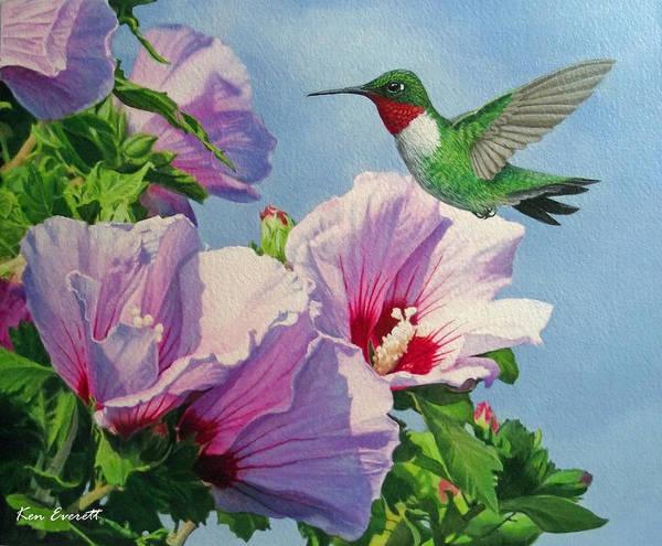 Ruby Wall Art - Painting - Ruby-throated Hummingbird by Ken Everett