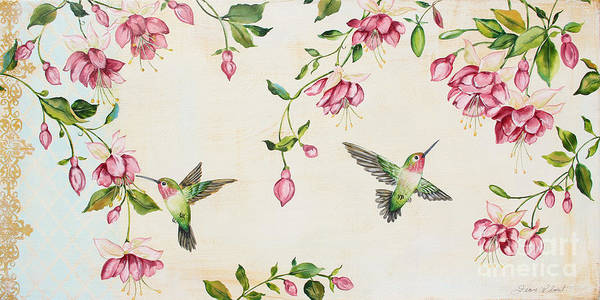 Humming Bird Wall Art - Painting - Rubys Among The Fuchsias by Jean Plout