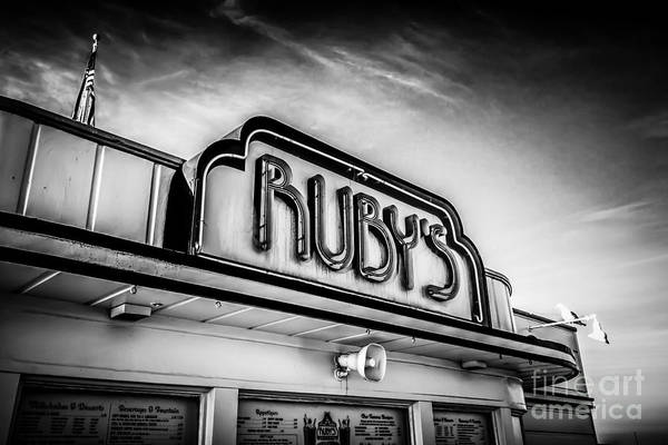 Wall Art - Photograph - Ruby's Diner Newport Beach Black And White Picture by Paul Velgos