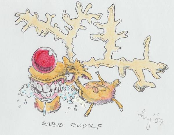 Drawing - Rudolph The Reindeer Cartoon by Mike Jory