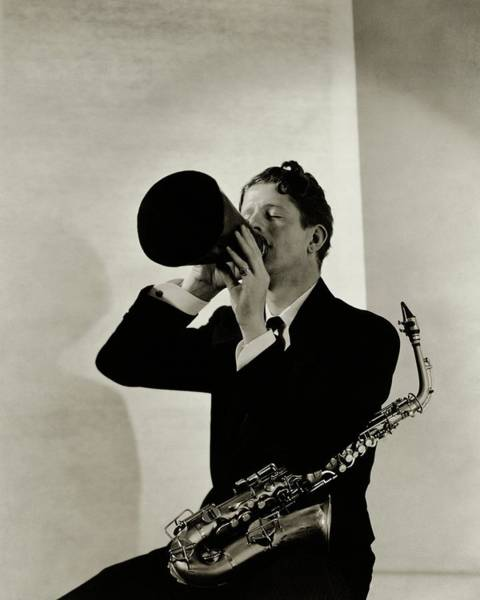 Playing Photograph - Rudy Vallee With A Saxophone by George Hoyningen-Huene