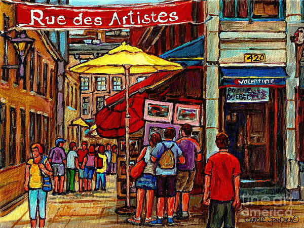 Painting - Rue Des Artistes Vieux Montreal Bistro Valentine The Old Port City Scene Paintings Carole Spandau by Carole Spandau