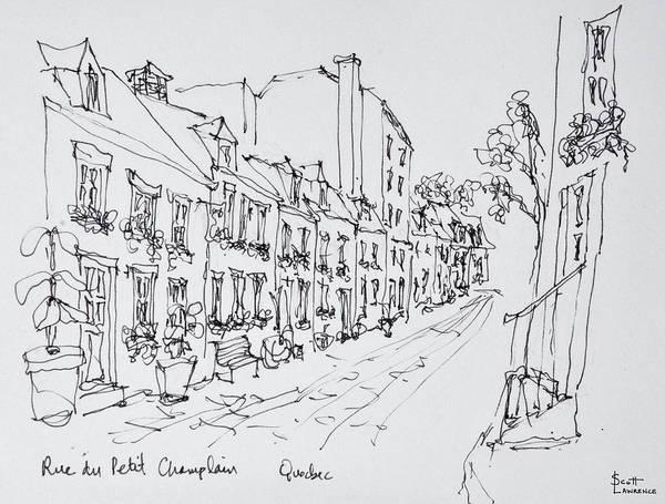 Ink Sketch Photograph - Rue Du Petit Champlain, Vieux Quebec by Richard Lawrence