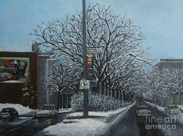 Montreal Street Scene Painting - Rue St Jacques by Reb Frost