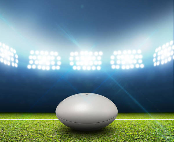 Pitch Digital Art - Rugby Stadium And Ball by Allan Swart