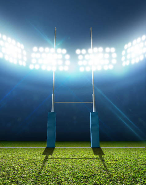 Pitch Digital Art - Rugby Stadium And Posts by Allan Swart
