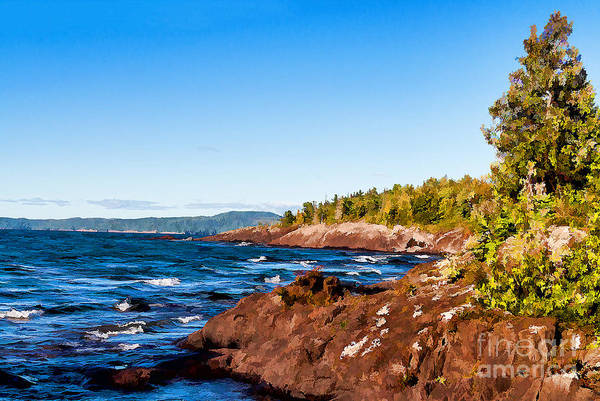 Photograph - Rugged Shoreline Of Lake Superior by Les Palenik