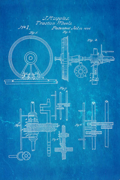Traction Photograph - Ruggles Traction Wheels Patent 1836 Blueprint by Ian Monk