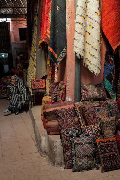 Cushion Photograph - Rugs And Cushions In The Souks Of by Martin Child