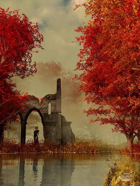 Digital Art - Ruins In Autumn Fog by Daniel Eskridge
