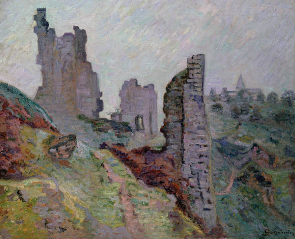 Foggy Painting - Ruins In The Fog At Crozant by Jean Baptiste Armand Guillaumin
