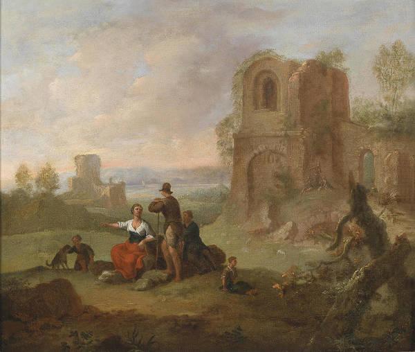 Paula Wall Art - Painting - Ruins Landscape With Locking Hikers by Franz de Paula Ferg