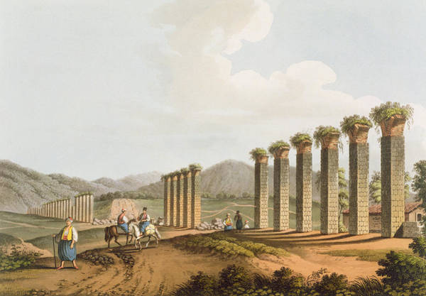 Columns Drawing - Ruins Of An Aqueduct Near Ephesus, 1810 by Luigi Mayer