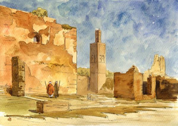 Islam Wall Art - Painting - Ruins Of Chellah  by Juan  Bosco