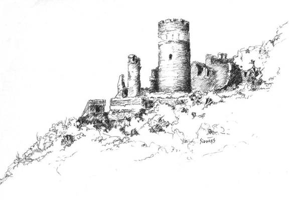 Drawing - Ruins Of Furstenburg Castle by Sam Sidders