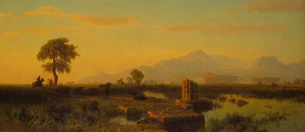 Painting - Ruins Of Paestum by Albert Bierstadt