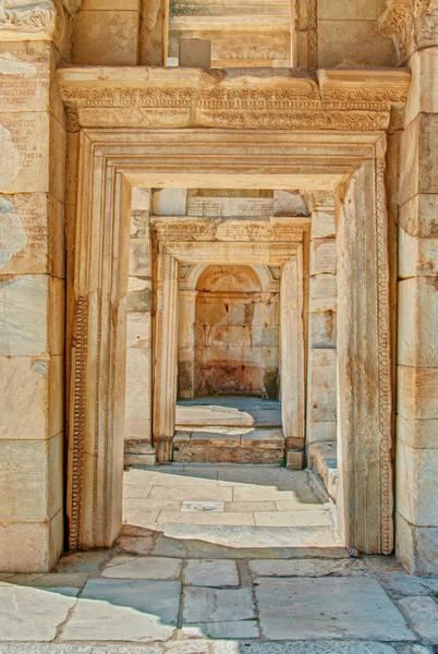 Ancient Greek Photograph - Ruins Or Ancient Stone Corridor With by Aygulsarvarova