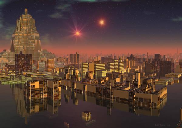 Digital Art - Rujjipet Sunset Alien Cityscape by Judi Suni Hall