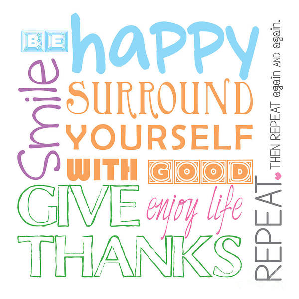 Thanksgiving Digital Art - Rules For A Good Life by L Bee
