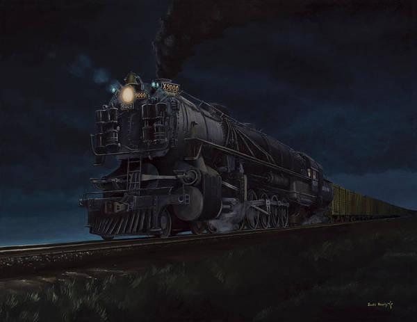Freight Trains Painting - Rumbling Through The Dark Prairie by Scott Hoarty