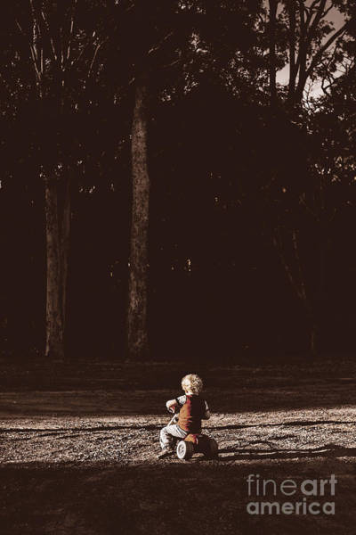 Wall Art - Photograph - Runaway Child Riding Tricycle At Old Dark Forest by Jorgo Photography - Wall Art Gallery