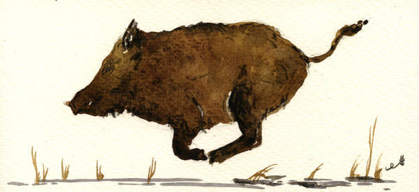 Pig Painting - Running Boar by Juan  Bosco