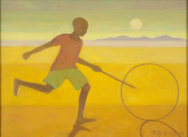 Hoop Photograph - Running Boy,2010 Oil On Canvas by Tilly Willis