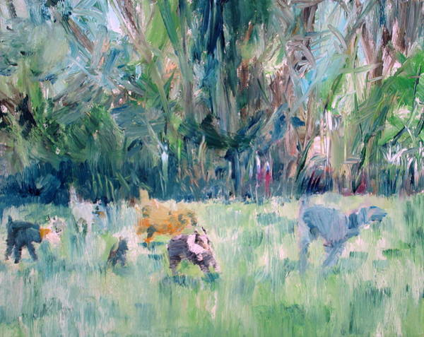 Breeding Painting - Running Dogs by Fabrizio Cassetta