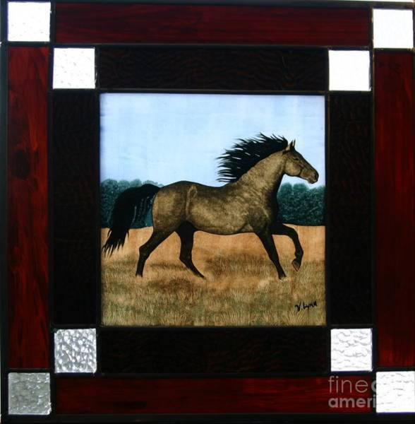 Leaded Glass Painting - Running Free by Valerie Lynn