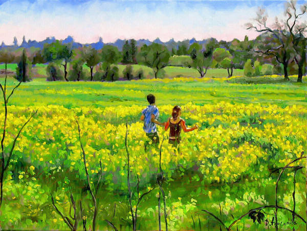 Mustard Field Painting - Running In The Mustard Field by Dominique Amendola