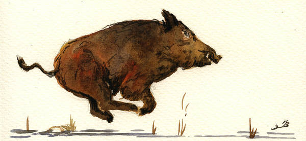 Pig Painting - Running Wildboar by Juan  Bosco