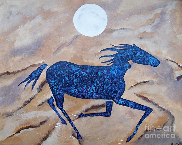 Wall Art - Painting - Running With The Moon by Jean Fry