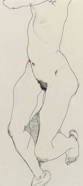 Sensual Drawing - Running Woman by Egon Schiele