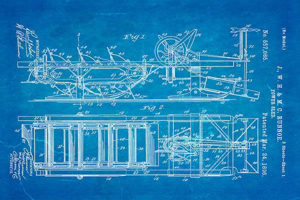1896 Photograph - Runnoe Power Sled Patent Art 1896 Blueprint by Ian Monk