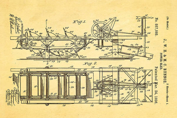1896 Photograph - Runnoe Power Sled Patent Art 1896 by Ian Monk
