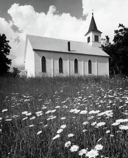 Wall Art - Photograph - Rural Church In Field Of Daisies by Vintage Images