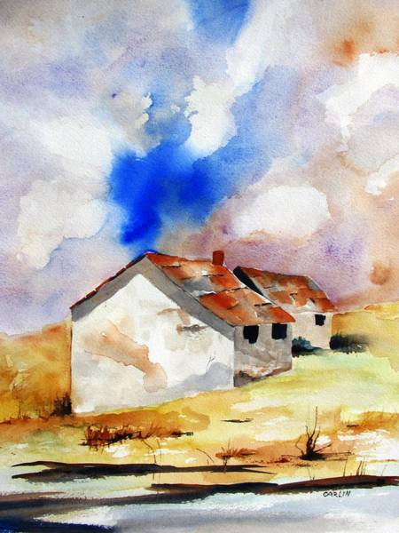 Painting - Rural Houses And Dramatic Sky by Carlin Blahnik CarlinArtWatercolor