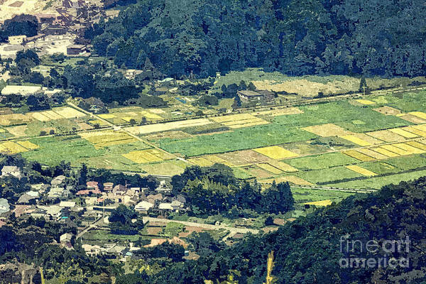 Photograph - Rural Japan Rice Fields Forest Countryside Village by Beverly Claire Kaiya
