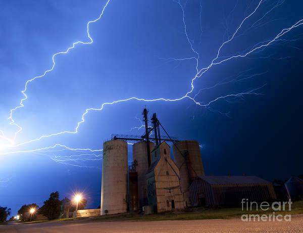 Rural Lightning Storm Art Print