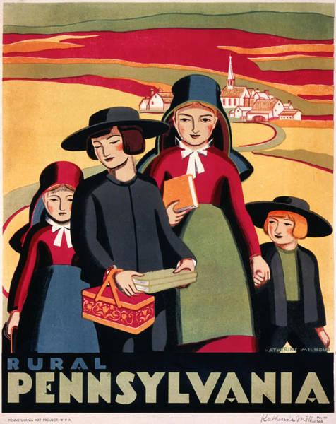 Brochure Drawing - Rural Pennsylvania 1938 by Mountain Dreams