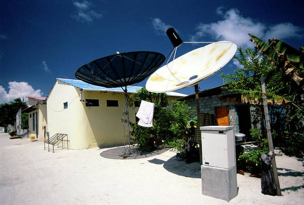 Satellite Receiver Photograph - Rural Satellite Dishes by Matthew Oldfield/science Photo Library