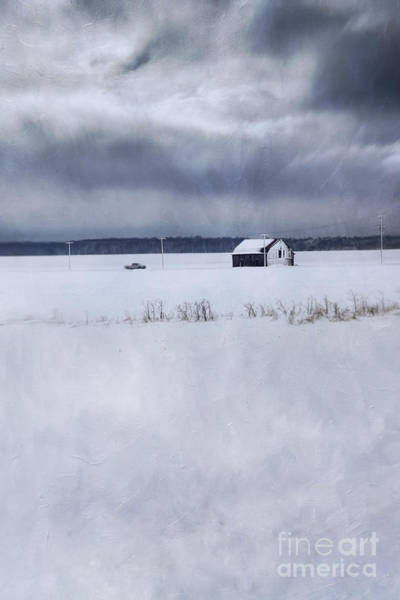 Photograph - Rural Winter Scene Of Barn And Truck From Far Away by Sandra Cunningham