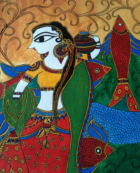 Madhubani Painting - Rural Woman Carrying Water In Clay Pot And Fish  by Varsha Singh
