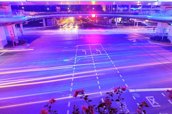 Wall Art - Photograph - Rush Hour Traffic In Crossroad At Night by Pan Hong