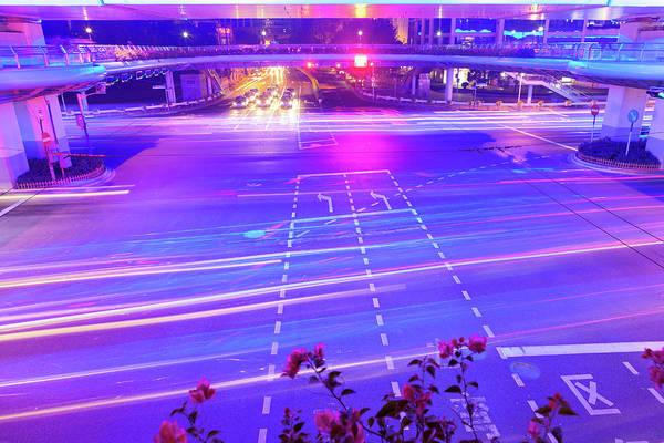 Wall Art - Photograph - Rush Hour Traffic In Crossroad At Night by Pan Hong