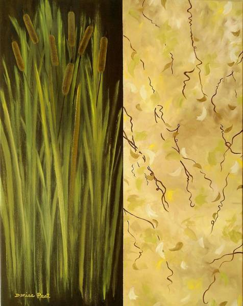 Bullrush Painting - Rushes And Vines by Denise C Peat