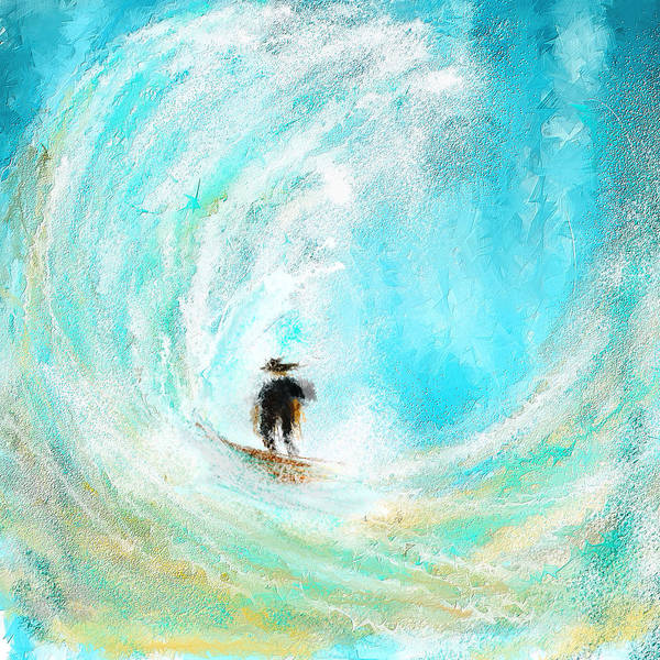 Painting - Rushing Beauty- Surfing Art by Lourry Legarde