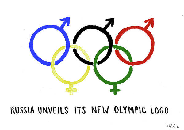 Wall Art - Drawing - Russia Unveils Its New Olympic Logo by Emily Flake