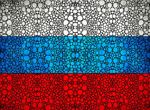 Painting - Russian Flag - Russia Stone Rock'd Art By Sharon Cummings by Sharon Cummings