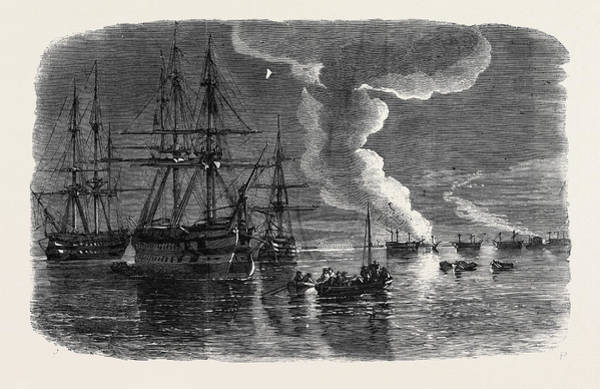 Ukraine Drawing - Russian Frigate On Fire In Sebastopol Harbour by Brierly, Oswald Walters (1817-1894), English
